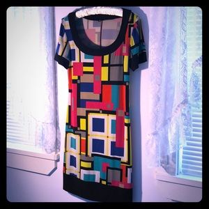 Geometric Color Block Dress M